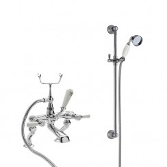 Topaz White Lever Deck Mounted Bath Shower Mixer Tap - Dome Collar with Traditional Slider Rail Shower Kit