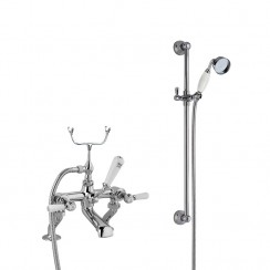 Topaz White Lever Deck Mounted Bath Shower Mixer - Hex Collar with Traditional Slider Rail Shower Kit