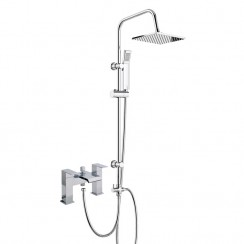 Tribeca Bath Shower Mixer Tap with 3 Way Square Rigid Riser Rail Kit