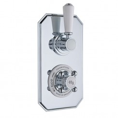 Topaz White Twin Thermostatic Concealed Shower Valve
