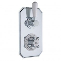 Topaz White Twin Concealed Shower Valve with Diverter