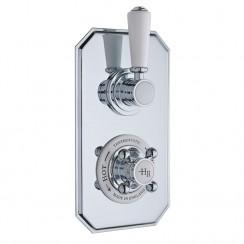 Hudson Reed Topaz White Twin Concealed Shower Valve with Diverter