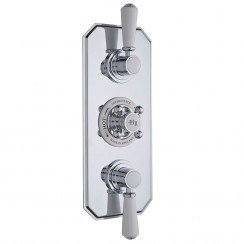 Topaz White Triple Concealed Shower Valve with Diverter