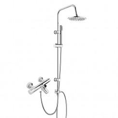 Thermostatic Bath Shower Mixer Tap with 3 Way Round Rigid Riser Rail Kit