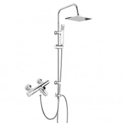 Thermostatic Bath Shower Mixer Tap with 3 Way Square Rigid Riser Rail Kit