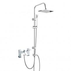 Vibe Bath Shower Mixer Tap with 3 Way Square Rigid Riser Rail Kit