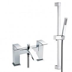 Vibe Bath Shower Mixer Tap with Square Slider Shower Rail Kit