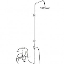 Topaz White Lever Deck or Wall Mounted Bath Shower Mixer Tap - Dome Collar with 3 Way Round Rigid Riser Rail Kit