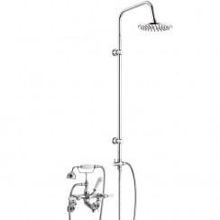 Topaz White Lever Deck Or Wall Mounted Bath Shower Mixer - Hex Collar with 3 Way Round Rigid Riser Rail Kit