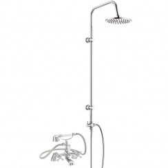 Viscount Bath Shower Mixer Tap with 3 Way Round Rigid Riser Rail Kit