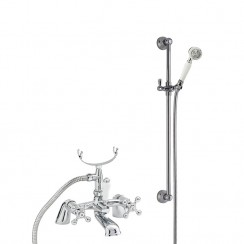 Viscount Bath Shower Mixer Tap Small Handset with Traditional Slider Rail Shower Kit