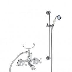 Viscount Bath Shower Mixer Tap Large Handset with Traditional Slider Rail Shower Kit
