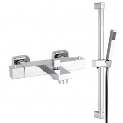 Square Thermostatic Bath Shower Mixer Tap With Shower Rail Kit