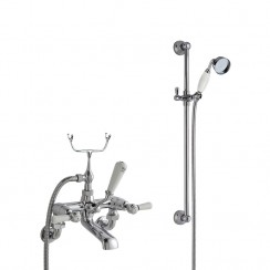 Topaz White Lever Wall Mounted Bath Shower Mixer Tap - Dome Collar with Traditional Slider Rail Shower Kit