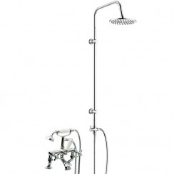 Westminster Bath Shower Mixer Tap, Cranked Legs with 3 Way Round Rigid Riser Rail Kit