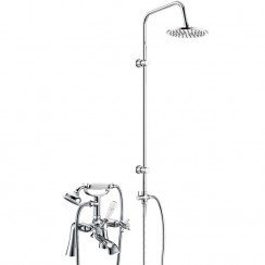 Westminster Bath Shower Mixer Tap, Straight Legs with 3 Way Round Rigid Riser Rail Kit