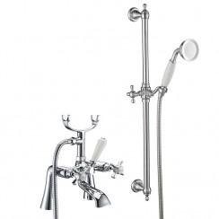 Westminster Bath Shower Mixer Tap, Straight Legs with Slider Rail Kit