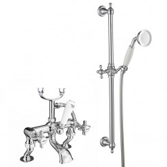 Westminster Bath Shower Mixer Tap, Cranked Legs with Slider rail Kit