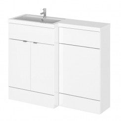 Hudson Reed - Gloss White 1100mm Combination Vanity Unit, WC Unit & L Shaped Basin - Compact - L H