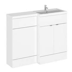 Hudson Reed - Gloss White 1100mm Combination Vanity Unit, WC Unit & L Shaped Basin - Compact - R H