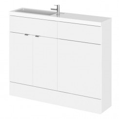 Hudson Reed - Gloss White 1100mm Combination Vanity Unit, WC Unit & Slimline Basin - Compact