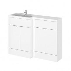 Hudson Reed - Gloss White 1200mm Combination Vanity Unit, WC Unit & L Shaped Basin - Full Depth - L H
