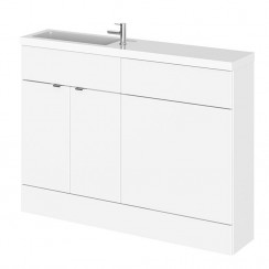 Hudson Reed - Gloss White 1200mm Combination Vanity Unit, WC Unit & L Shaped Basin - Compact