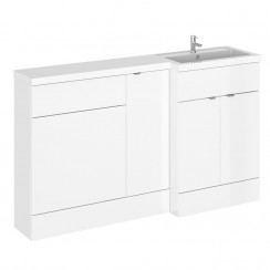 Hudson Reed - Gloss White 1500mm Combination Vanity Unit, WC Unit & L Shaped Basin - Full Depth - R H