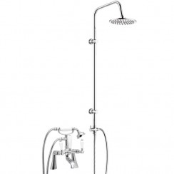 Windsor Bath Shower Mixer Tap with 3 Way Round Rigid Riser Rail Kit