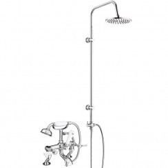 Windsor Bath Shower Mixer Tap, Cranked Legs with 3 Way Round Rigid Riser Rail Kit