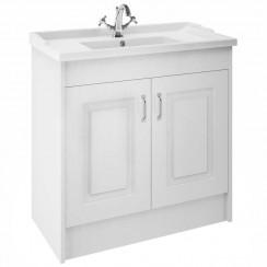York Porcelain White Ash Floor Standing 1000mm Basin & Cabinet