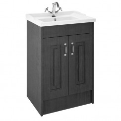 York Royal Grey Woodgrain Floor Standing 600mm Basin & Cabinet