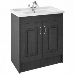 York Royal Grey Woodgrain Floor Standing 800mm Basin & Cabinet