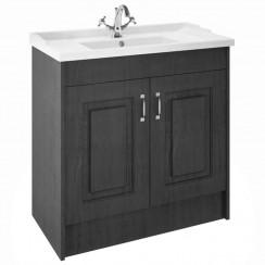 York Royal Grey Woodgrain Floor Standing 1000mm Basin & Cabinet
