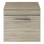 Athena Driftwood 500mm Wall Hung 1 Drawer Cabinet & Worktop
