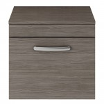 Athena Brown Grey Avola 500mm Wall Hung 1 Drawer Cabinet & Worktop