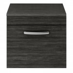 Athena Hacienda Black 500mm Wall Hung 1 Drawer Cabinet & Worktop