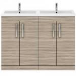 Athena Driftwood 1200mm Floor Standing 4 Door Cabinet & Basin 4