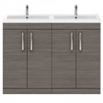 Athena Brown Grey Avola 1200mm Floor Standing 4 Door Cabinet & Basin 4
