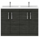 Athena Hacienda Black 1200mm Floor Standing 4 Door Cabinet & Basin 4
