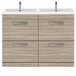 Athena Driftwood 1200mm Floor Standing 4 Drawer Cabinet & Double Basin