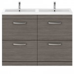 Athena Brown Grey Avola 1200mm Floor Standing 4 Drawer Cabinet & Basin 4
