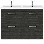 Athena Hacienda Black 1200mm Floor Standing 4 Drawer Cabinet & Basin 4