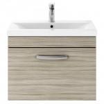 Athena Driftwood 600mm Wall Hung 1 Drawer Cabinet & Basin 1