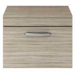 Athena Driftwood 600mm Wall Hung 1 Drawer Cabinet & Worktop