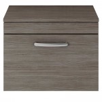 Athena Brown Grey Avola 600mm Wall Hung 1 Drawer Cabinet & Worktop