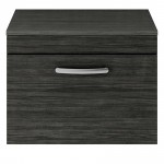 Athena Hacienda Black 600mm Wall Hung 1 Drawer Cabinet & Worktop