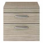 Athena Driftwood 600mm Wall Hung 2 Drawer Cabinet & Worktop