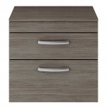 Athena Brown Grey Avola 600mm Wall Hung 2 Drawer Cabinet & Worktop