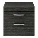 Athena Hacienda Black 600mm Wall Hung 2 Drawer Cabinet & Worktop